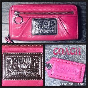 Coach Poppy Pink Wallet Wristlet